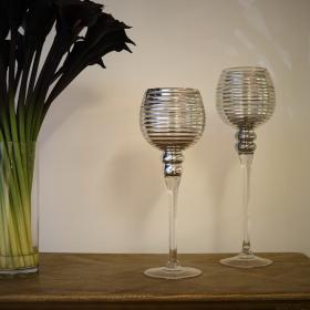 Silver Ridged Glass Candleholder - Large