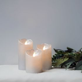 LED Silver Waving Flame Candles - Set of 3